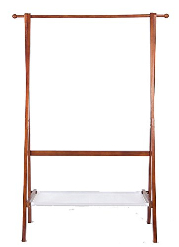 Yaker's collection Foldable Wood Garment Coat Rack With 2 Hooks Potable Hallway Clothes Elegant Drying Stand