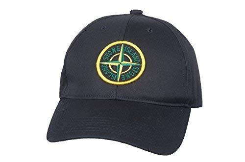 Stone Island Soft Cotton Navi Black Green Compass Logo Men`s Baseball Cap ()