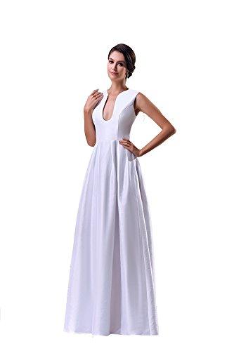VogueZone009 Womens V-neck Sleeveless Pongee Taffeta Formal Dress, White, 16 by VogueZone009
