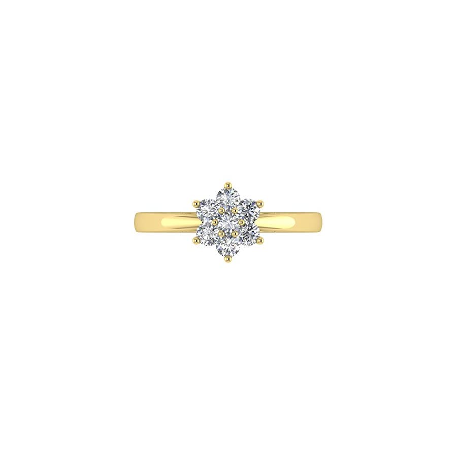 IGI Certified 18K Gold Flower Shaped Cluster Diamond Ring Band (1/3 Carat)