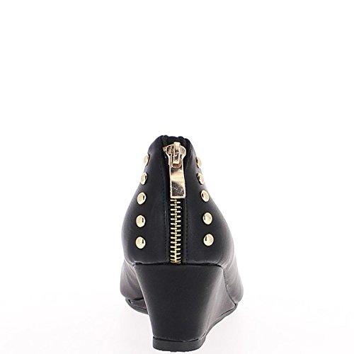 Dimensione di scarpe tacco alto nero compensata 5,5 cm fine vernici