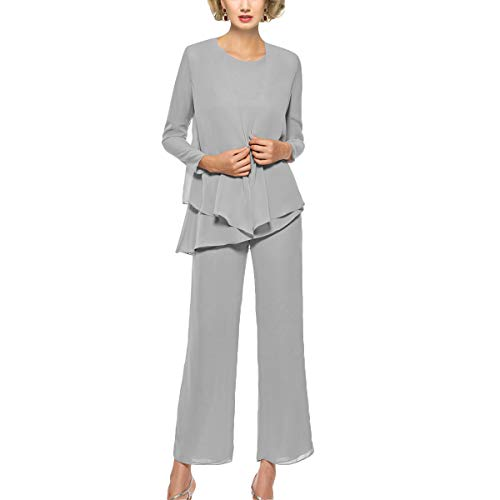 Mother of The Bride Pant Suits 3 Piece Outfits Formal Womens Evening Long Sleeve Chiffon Dressy Pantsuits for Weddings (Silver 14)