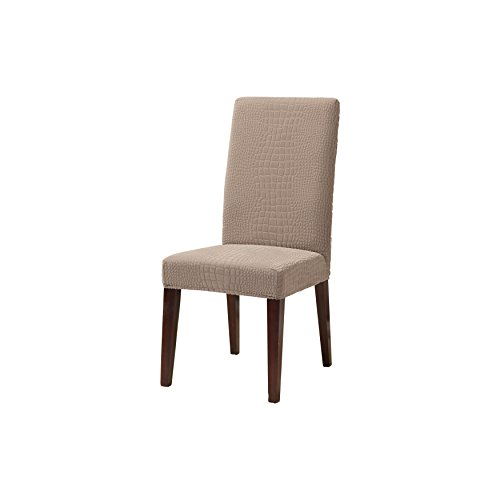 (SureFit Stretch Crocodile - Shorty Dining Room Chair Slipcover  - Pumice (SF44306))