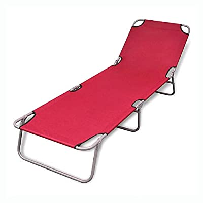 K&A Company Sunlounger, Folding Sun Lounger Powder-Coated Steel Red