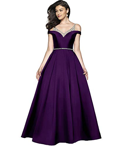 Women's Cold Shoulder V Neck A-line Floor Length Evening Prom Dress Long Satin Party Gown with Beaded Bodice Size 16 - Bodice Gown