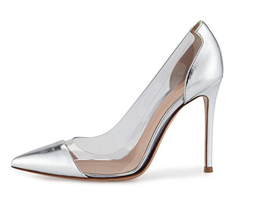 (Sammitop Women's Pumps Pointed Toe Silver Shoes 100mm High Heel Transparent Shoes US9.5)