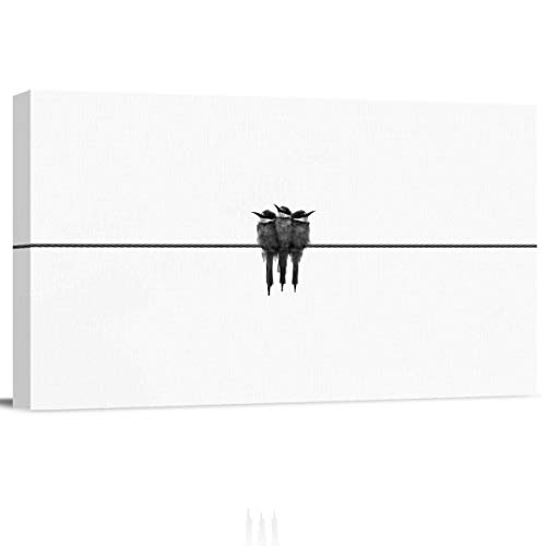 Arts Language Canvas Print Wall Art Three Birds nestled Together on The Wire Picture Painting Modern Giclee Framed Artwork for Office/Livingroom/Bedroom/Office Decor 12x24in