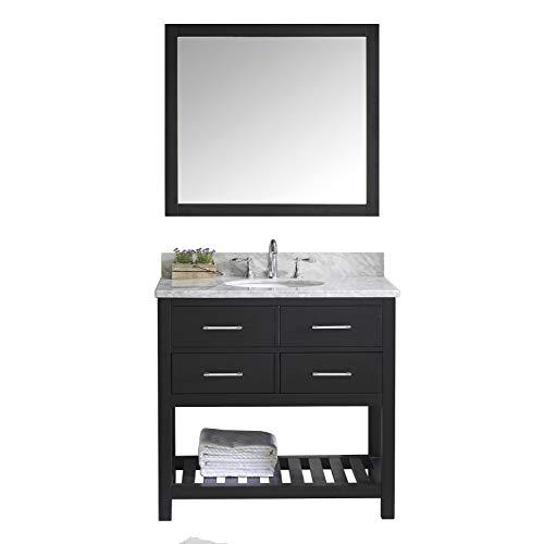 Virtu USA Caroline Estate 36 inch Single Sink Bathroom Vanity Set in - Mirrors Bathroom Counter Gray Round