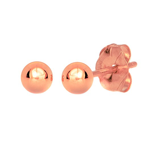 JewelStop 14k Real Rose Gold Stud Ball Earrings W/ Gold Friction Backs - 5 - Earrings Ball Back Friction Stud