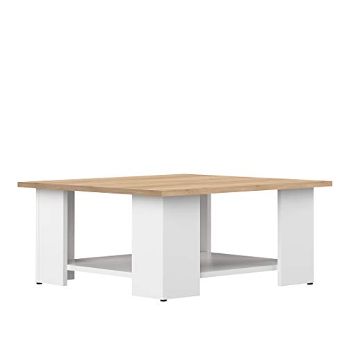 Marca Amazon - Movian Taro - Mesa de centro, 67 x 67 x 30.5 cm (largo x ancho x alto), roble y blanco