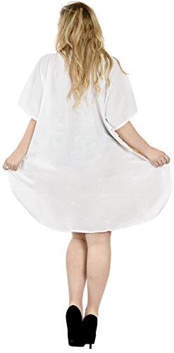 Bianco Maxi Notte Coprire Donne Leela Camicia i287 Abito Da La Raion Ricamati Kaftano Vintage qz7wXFnZ