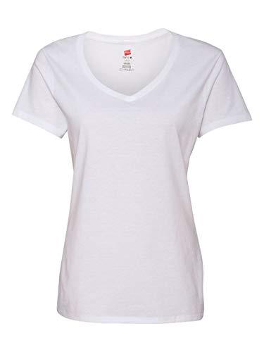 Hanes Women's Nano- V-Neck T-Shirt White (Coverseamed White Neck T-shirt)