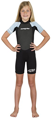 - Hyperflex Access Child's Backzip Shorty Wetsuit - Warm, Comfortable Kid's Springsuit with 4-Way Stretch Neoprene and SPF Protection - Adjustable Collar and Flat Lock Construction,(Light Blue, 8)