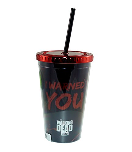 Thw Walking Dead 18 OZ BPA Free Plastic Carnival Cup/Travel Mug (Red & Black, Pack fo 1) - Gifts & Merchandise for $<!--$9.79-->