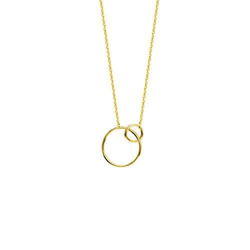 Gold Necklace, Interlocking Rings Adjustable. Necklace 5M Sr by DiamondJewelryNY (Image #1)