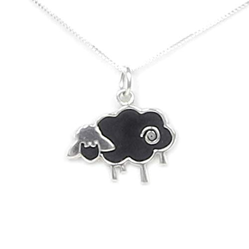 (Black Sheep Necklace Sterling Silver - Gift Boxed with Inspirational Story Card - Handcrafted Made in the USA - 20
