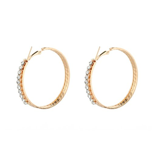 Hot Sale! Paymenow Women Girls Crystal Rhinestone Circle Round Shape Clip Earring Fashion Hoops Earrings (Gold)