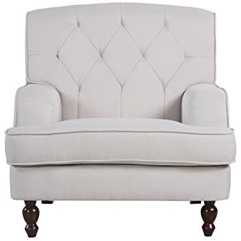 Good Modern Tufted Fabric Living Room Armchair (Beige)