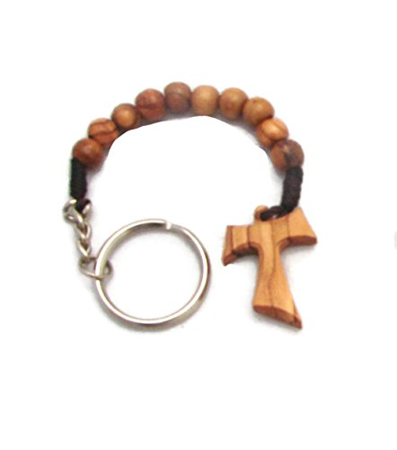 Olive Wood Tao Tau Finger Rosary Keyring Key Ring Chain Prayer (Pray Rosary Beads)