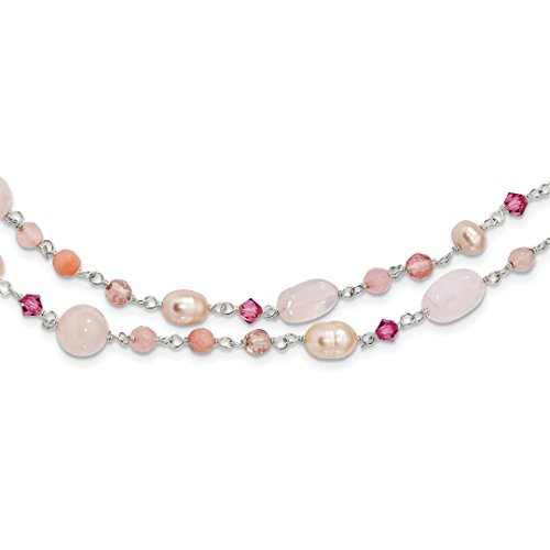 ICE CARATS 925 Sterling Silver Pink Freshwater Culturedultpearl/cherry Rose Quartz/peach Jade/rosaline Chain Necklace Pearl Natural Stone Fine Jewelry Gift Valentine Day Set For Women (Sale Quartz Necklace)