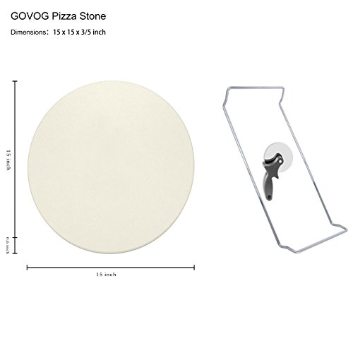 Pizza Stone for Oven 15 x 3/5'' BBQ Baking Stone Round Grilling Ceramic Pan with Cutter Handle Set, 15X3/5'' by GOVOG (Image #1)