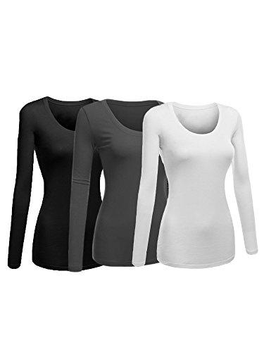 Emmalise Women's Junior and Plus Size Basic Scoop Neck Tshirt Long Sleeve Tee, Large, 3Pk Black, Charcoal, White