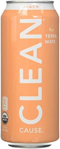 Clean Cause Sparkling Peach Yerba Mate - 16 Ounces (Case of 12)