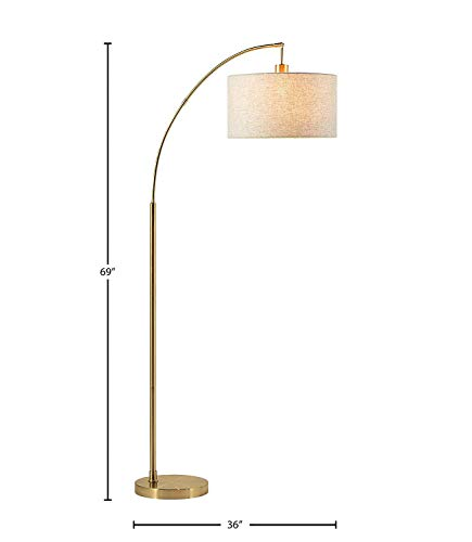 """Amazon Brand – Rivet Modern Arc Standing Floor Lamp with Grey Fabric Shade, Bulb Included, 69""""H, Steel"""