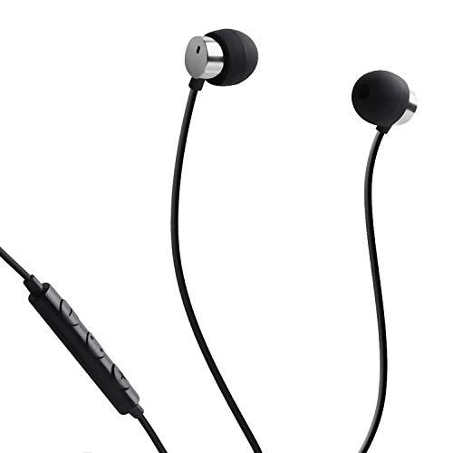 FSC Sleep Earbuds, Noise Isolating Headphones Earplugs Mic & Volume Control Sleeping, Insomnia, Side Sleeper, Snoring, Air Travel, Meditation & Relax 3.5 mm Jack 1.2m (Metal Silver)