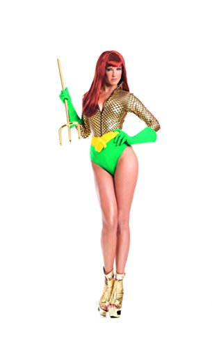Adult Women's 3 Piece Miss Aqua Girl Miss Poseidon Super Hero Halloween Party Costume ()