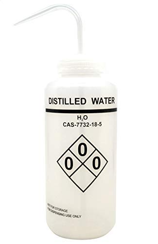1000ml Capacity Labelled Wash Bottle for Distilled Water, Self Venting, Low Density Polyethylene - Eisco Labs by EISCO