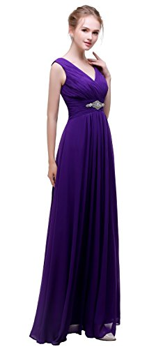 Chiffon esvor V Dark Bridesmaid Gown Neck Esovr Long Evening Formal Prom Dresses Dresses Purple twAABqcp