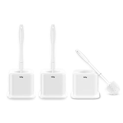 TOPSKY 3 Pack Toilet Brushes with Holder, Compact Toilet Bowl Brush with Long Handle, White (Cube - Brush Long Blush Handle 1