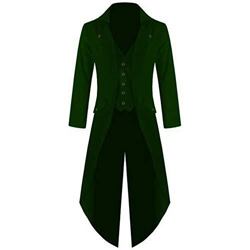 Mens Gothic Victorian Coat Steampunk Vintage Tailcoat Jacket Medieval Suit Jacquard Frock Coat Plus Size Green ()