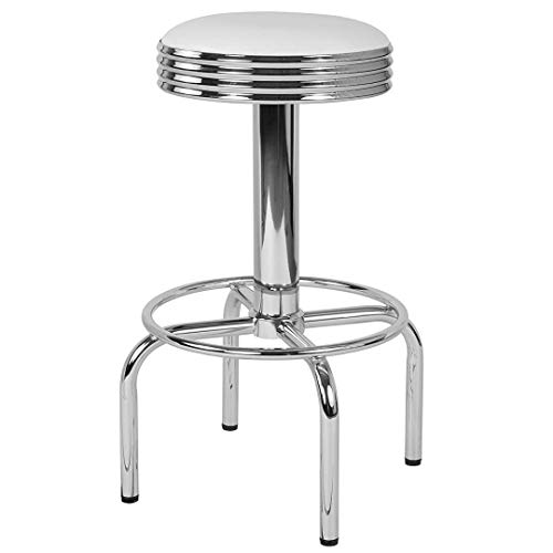 Modern Classic Design Metal Dining Round Backless Barstools Extra Wide Quadruple Base Lounge Diner Restaurant Commercial Seats Home Office Furniture - (1) White Vinyl Seat #2203 by KLS14 (Image #4)