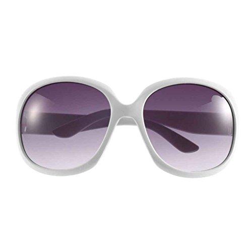Oval UV Gran Protección Gafas Marco Blanco de redondas Mujeres Mengonee Gafas Grandes de clásicas sol Gafas Lady plástico qO5RwtwxH