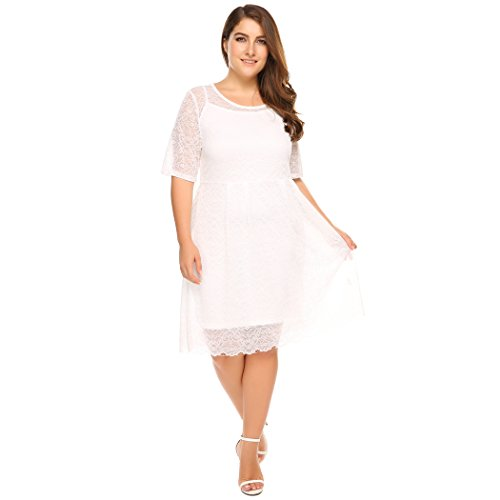 Zeagoo Women's Plus Size Lace Bridal Formal Skater Dress - Floral Lace 3/4 Sleeves Cocktail Prom Dress White 3X Plus