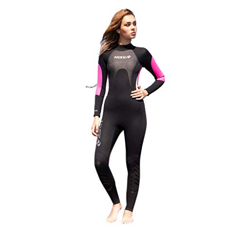 Women's 3MM Sunblock Neoprene Long Sleeve Wetsuit for Scuba Diving Full B One Piece (Black, L)