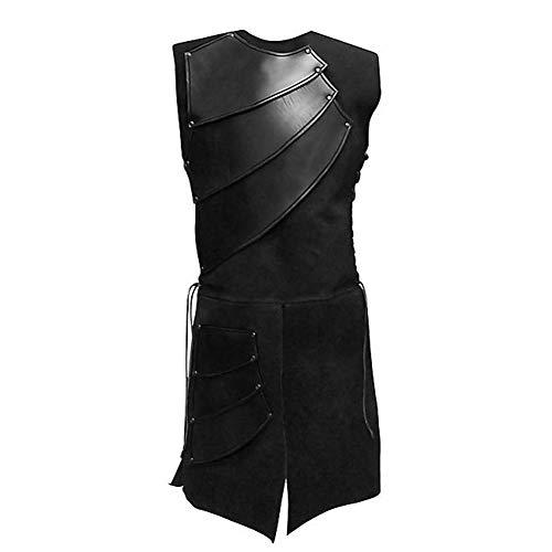 YAHUIPEIUS Medieval Warrior Waistcoat Renaissance Mid-Long Men Vests Victorian Stage Suit Costume (M, Black)