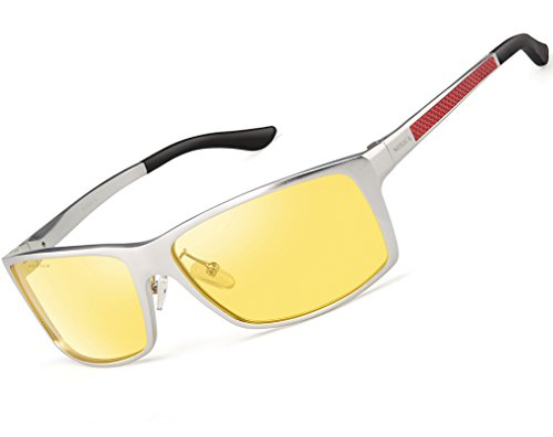 SOXICK HD Night Vision Glasses - Men Women Outdoor Anti Glare Yellow Lens Sliver - Sunglasses Best Golf The Are What For