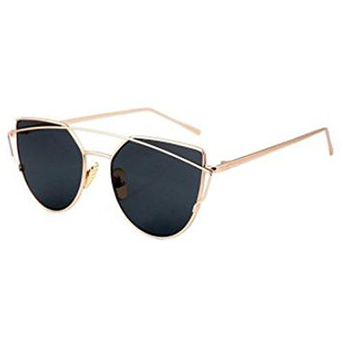 Epic Brand Cateye Flat Lens Metal Sunglasses for Women   Women's Cat Eye Street Fashion Frames UV400 Lens (Gold / Black, - Eye Style Are In Glasses Cat