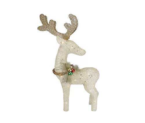 Outdoor White Reindeer Christmas Decoration Made with Extreme Weather Resistant