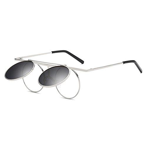 Vintage Polarisées Steampunk Polarized lunettes de soleil femmes hommes hibote gothique ronde Flip Up Lens C6