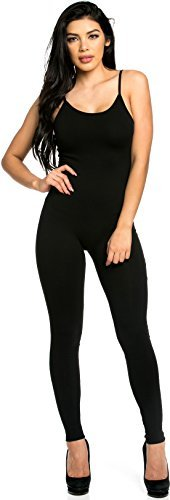 Staand Apparel Womens Spaghetti Strap Catsuit Large Black ()