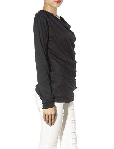 iB-iP Mujer Línea De Botón Lateral Estilo Militar Knit Tees cintura Camisa Negro