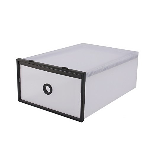 Yosoo 5pcs Stackable Simple Style Clear Plastic Shoe Box Home Storage Boxes Office Organiser Drawer (Black, 5 Boxes)