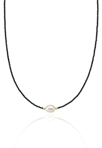 (14KY White Freshwater Cultured Pearl Black Spinel Necklace)