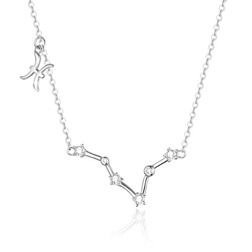 SIMPLOVE Women's Pisces Horoscope Necklace Zodiac Sign Pendant Constellation Necklace Birthday Gift 16.5
