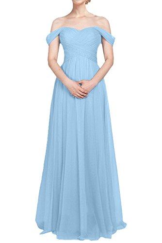 Abendkleider A Blau Linie Schulterfrei Braut Tuell lang Damen Partykleider La Brautjungfernkleider mia Abschlussballkleider qfApnX