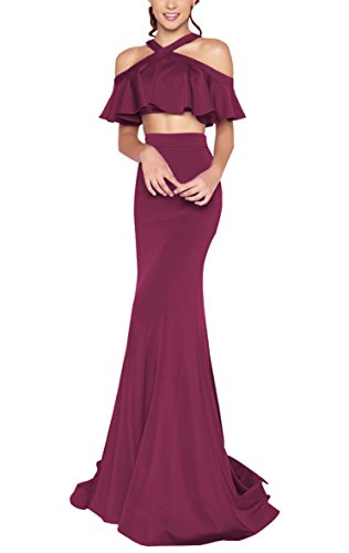 Ruffled Two Piece (YORFORMALS Women's Off The Shoulder Two-Piece Mermaid Formal Evening Gown Long Prom Dress Ruffled Bodice Size 8 Burgundy)